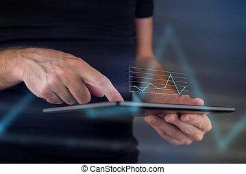 negócio, mapa, ligado, tablete digital, computador