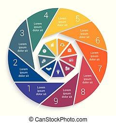 negócio, mapa torta, infographic, modelo, 9, opções