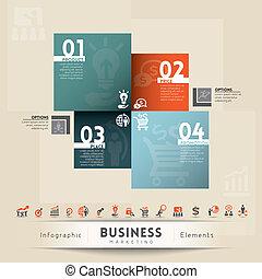 negócio, marketing, conceito, gráfico, elemento