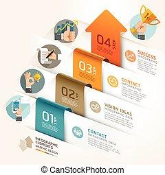 negócio, marketing, seta, timeline, template., vetorial, illustration., lata, ser, usado, para, workflow, esquema, bandeira, diagrama, número, opções, projeto teia, infographic, template.