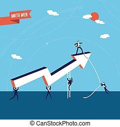 negócio, marketing, trabalho equipe, sucesso, ilustração