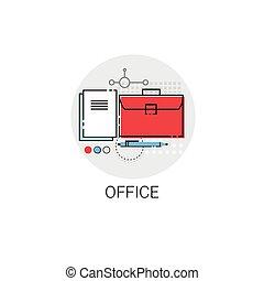 negócio, material, pasta, escritório, ícone