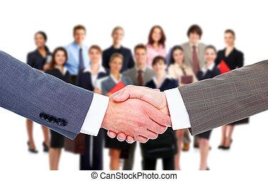 negócio, meeting., handshake.