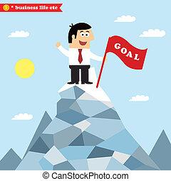 negócio, meta, realização