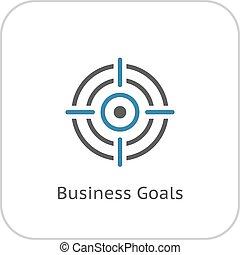 negócio, metas, icon., apartamento, design.