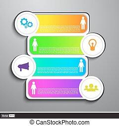 negócio moderno, desenho, template., lata, ser, usado, para, infographics, numerado, bandeiras, cutout, linhas, gráfico, ou, site web, esquema, vector.