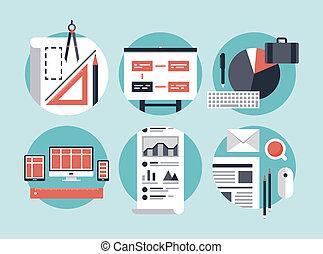 negócio moderno, desenvolvimento, processo