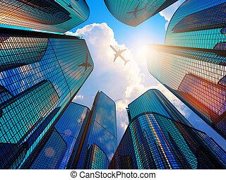 negócio moderno, distrito, arranha-céus