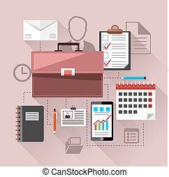 negócio moderno, gerência, elementos