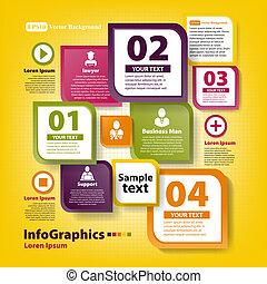 negócio moderno, trabalho, infographic, modelo, equipe
