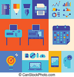negócio moderno, workflow, ilustração, jogo