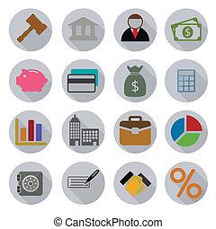 negócio, modernos, ícones, jogo