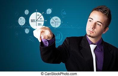 negócio, modernos, botões, apertando, homem negócios, tipo