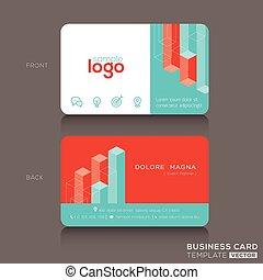 negócio, modernos, desenho, modelo, trendy, cartão