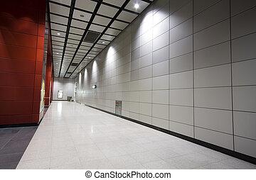 negócio, modernos, grande, corredor, aquilo, edifício.