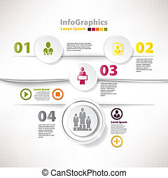 negócio, modernos, infographic, desenho, modelo, cutout, divide