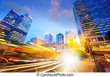 negócio, modernos, tráfego, cidade, rastros, luz