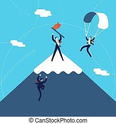 negócio, montanha, conceito, meta, ilustração