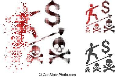 negócio, mortal, halftone, brilho, ponto, realização, ícone