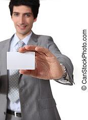 negócio, mostrando, isolado, fundo, homem negócios, branca, cartão