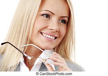 negócio mulher, óculos