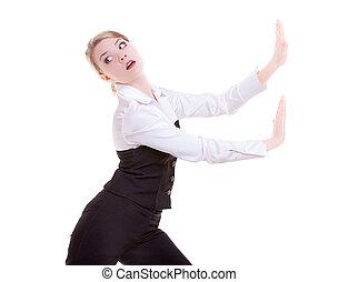 negócio mulher, afastado, empurrar, isolado, invisível, copy-space, obstáculos