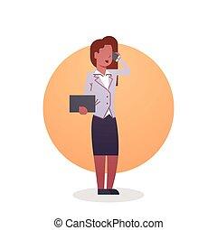 negócio mulher, americano, africano, ícone, ocupação, senhora, secretária