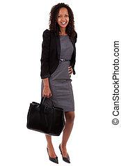 negócio mulher, americano, segurando, africano, bolsa