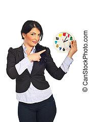 negócio mulher, apontar, relógio