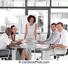 negócio mulher, apresentação, femininas, dar