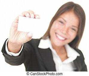negócio mulher, cartão