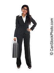 negócio mulher, corporal, americano, mala, isolado, cheio, africano, branca