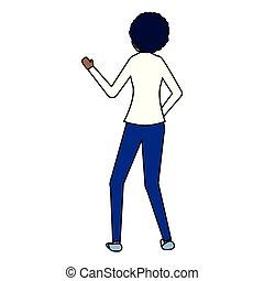 negócio mulher, costas, fundo, branca, vista