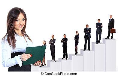 negócio mulher, dela, equipe