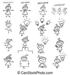negócio mulher, desenho, conceito, mão, caricatura, feliz