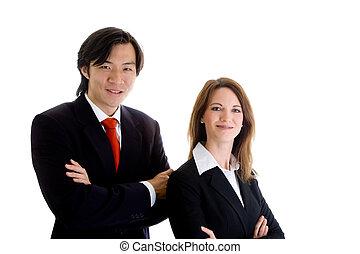 negócio mulher, equipe, confiante, asiático, caucasian branco, homem