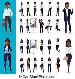negócio mulher, escritório, set., personagem, americano, vetorial, pretas, africano, desenho, homem, trabalhando