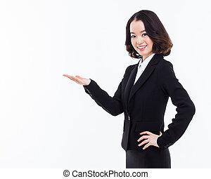 negócio mulher, espaço, indicar, asiático, em branco