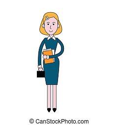 negócio mulher, executiva, comprimento, cheio, levantar, ...