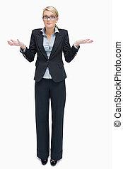 negócio mulher, faça, dar, saber, gesto