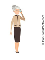 negócio mulher, falando, telefone móvel, caucasiano