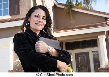 negócio mulher, hispânico, atraente, femininas, novo, frente, lar