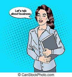 negócio mulher, ilustração, confiante, vetorial, estouro,...