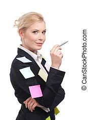 negócio mulher, jovem, caneta, pretas, segurando, paleto, sorrindo