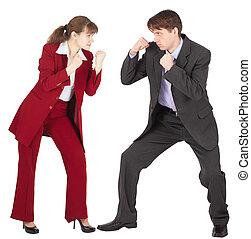 negócio mulher, luta, ir, ternos, homem