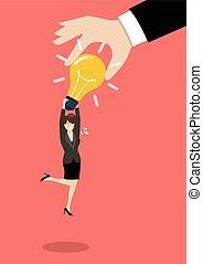 negócio mulher, luz, idéia, mão, roubando, bulbo