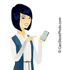 negócio mulher, móvel, jovem, telefone., asiático, segurando