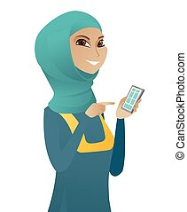 negócio mulher, móvel, muçulmano, jovem, telefone., segurando