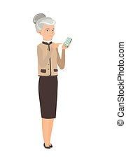 negócio mulher, móvel, telefone., segurando, caucasiano