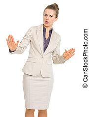 negócio mulher, mostrando, baixo, pacata, gesto